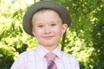 Cute Boy Wearing Hat And Tie