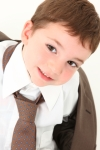 Brown-eyed Boy Wearing Daddy's Tie